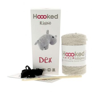 kit amigurumi de la marca Hoooked para tejer al rinoceronte Dex