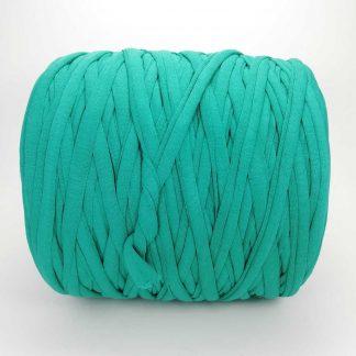 Madeja de trapillo de algodón reciclado en color verde esmeralda